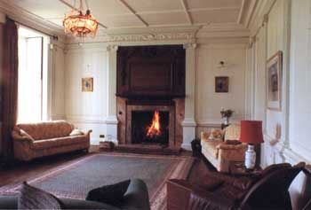 large mansion in wales with open fire