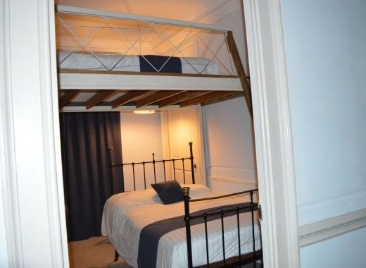 Room 2, small double with single bed on sleeping platform